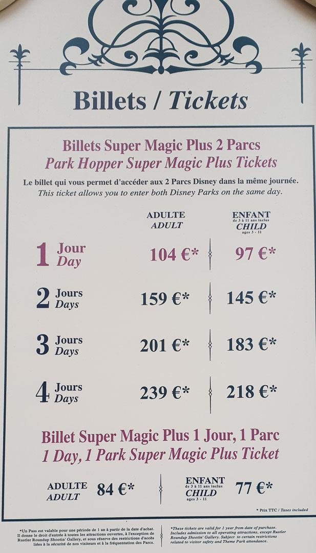 tabela de preços de bilhete da disney paris
